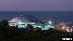 Toàn cảnh Vận động trường Fisht ở Sochi trong buổi bình minh