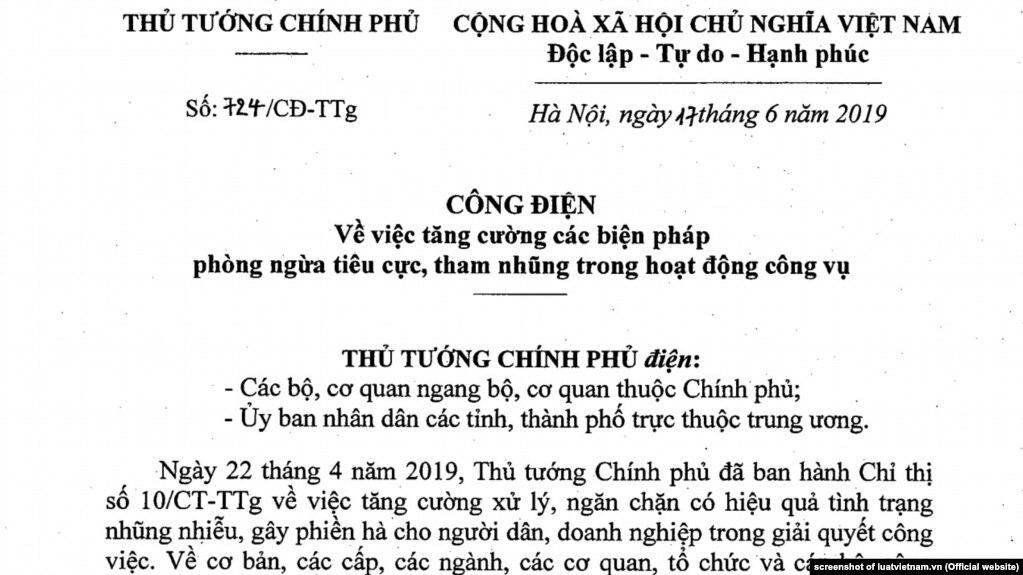 Thủ tướng Nguyễn Xuân Phúc gửi công điện đề nghị đẩy mạnh chống tiêu cực, tham nhũng, 17/6/2019