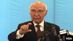 Sartaj Aziz, penasihat perdana menteri Pakistan untuk keamanan nasional dan masalah luar negeri.
