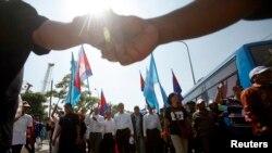 柬埔寨反對派在金邊遊行紀念人權日