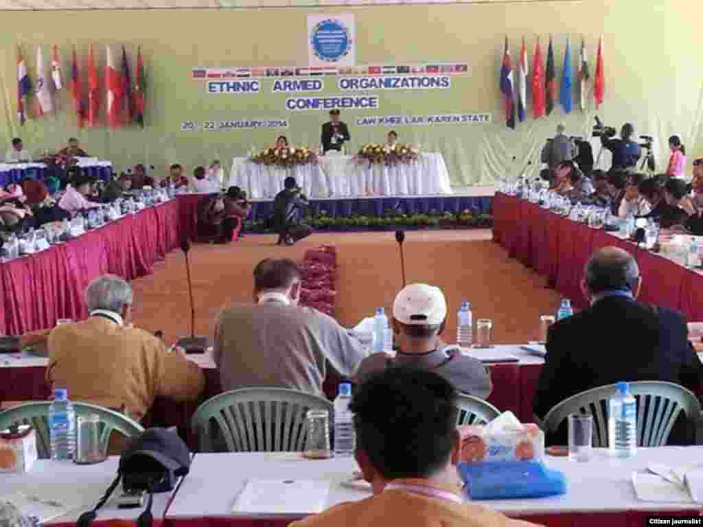myanmar ethnic armed group meeting for the 4th day at KNU head quarter, laywah, January 23rd, 2014 (Photo by Khin Maung Win AP))