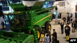 Farm equipment maker John Deere made its debut at the Consumer Electronics Show, Jan. 9, 2019, in Las Vegas with a connected combine harvester. It uses GPS, artificial intelligence and sensor technology to help improve yields.