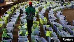 Ballot boxes and election materials are seen at a tallying center in Kisumu, Kenya, Oct. 27, 2017.