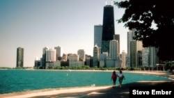 Oak Street Beach along Lake Michigan on Chicago's Near North Side