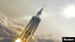 NASA's Space Launch System (SLS) 70-metric-ton configuration is seen launching to space in this undated artist's rendering.