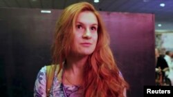 FILE - Accused Russian agent Maria Butina speaks at a FreedomFest conference in Las Vegas, Nevada, July 11, 2015, in this still image taken from a social media video obtained July 19, 2018.