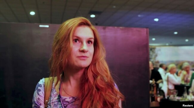 FILE - Russian national Maria Butina is seen at the 2015 FreedomFest conference in Las Vegas, Nevada, July 11, 2015, in this still image taken from a social media video.