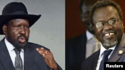 Montage of South Sudanese President Salva Kiir (L) and former vice president turned rebel leader Riek Machar, who held face-to-face talks in Addis Ababa on Thursday, Jan. 29, 2014.