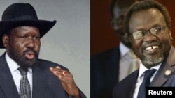 Montage of South Sudanese President Salva Kiir (L) and former vice president turned rebel leader Riek Machar. Mr. Kiir was absent when Machar met Wednesday, Sept. 16, 2013, with the presidents of Sudan and Uganda.