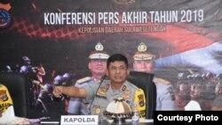 Kapolda Sulawesi Tengah Irjen Pol Syafril Nursal saat menyampaikan konferensi pers akhir tahun 2019 di Polda Sulawesi Tengah, 31 Desember 2019. (Foto: Humas Polda Sulawesi Tengah)