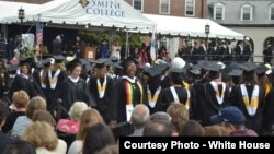 FILE: Belinda Nhundu from St. Dominic's Chishawasha in a moment of joy as she graduates with Honors in Neuroscience at Smith College, Massachusetts.
