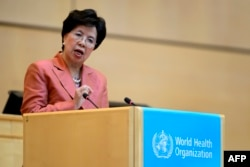 WHO Director-General Margaret Chan delivers a speech during the World Health Assembly, with some 3,000 delegates from its 194 member states on May 23, 2016 in Geneva, Switzerland.