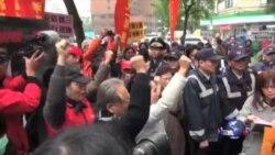 台湾民众抗议安倍参拜靖国神社
