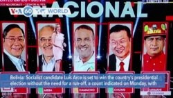 VOA60 Addunyaa - Socialist candidate Luis Arce is set to win Bolivia's presidential election without a run-off