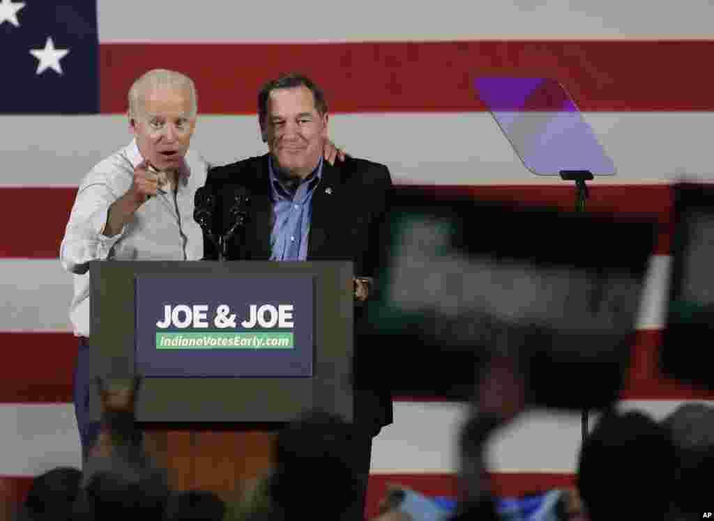 سخنرانی جو بایدن، معاون رئیس جمهوری پیشین آمریکا در کمپین حمایت از نامزدان حزب دموکرات در انتخابات میان دوره ای کنگره آمریکا