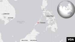 菲律賓前線巴拉望島地理位置。