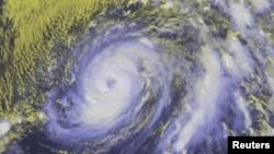 Hurricane Nicole is seen in the Atlantic Ocean in an image from NOAA's satellite taken at 1:15 p.m. ET (17:45 GMT) Oct. 11, 2016.