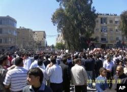 用民众传给媒体的德拉市反政府抗议场面