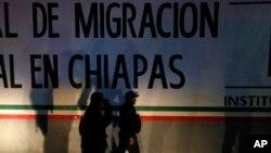 Estasyon polis federal ak sant detansyon imgrasyon nan Tapachula, Chiaas o Meksik. Foto achiv: 25 avril 209.