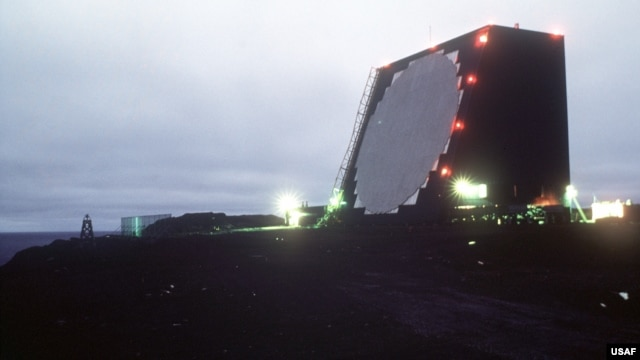 FILE - A view of COBRA DANE, an intelligence-gathering phased array radar system. The 21st Operations Group is in charge of the radar mission at Eareckson Air Station, Shemya Island, Alaska.