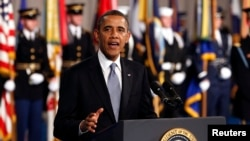 지난 8일 미국 리언 파네타 국방장관 이임식에 참석한 바락 오바마 대통령. (자료사진)