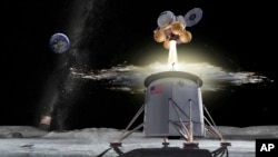 This illustration provided by NASA on Friday, Aug. 16, 2019, shows a proposed design for an Artemis program ascent vehicle leaving the surface of the moon, separating from a descent vehicle. (NASA via AP)