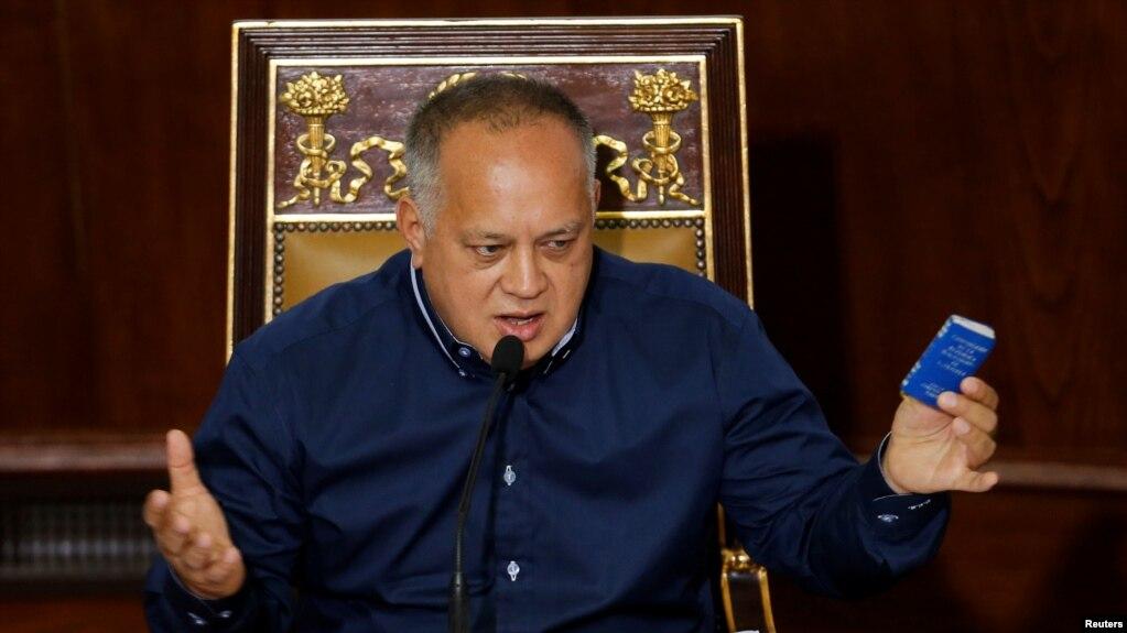 Phó Chủ tịch Đảng Xã hội Venezuela Diosdado Cabello phát biểu tại cuộc họp Quốc hội Venezuela ngày 12/8/2019