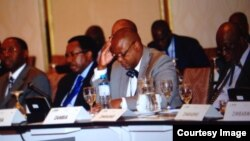 Patrick Chinamasa attending the MEFMI forum in Lima, Peru.