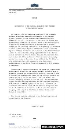 Tekst obveštenja o produženju važenja Uredbe o povišenom stepenu upozorenja u vezi sa Zapadnim Balkanom (Izvor: Bela kuća)