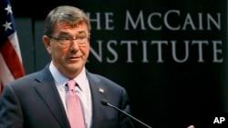 美國國防部長卡特星期一在亞利桑那州立大學發表演講。