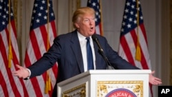 FILE - Presidential candidate Donald Trump speaks to Palm Beach County, Florida, Republicans, March 20, 2016. Trump quickly backtracked Wednesday after saying women who obtain abortions in the U.S., if the procedure is banned, should be punished.