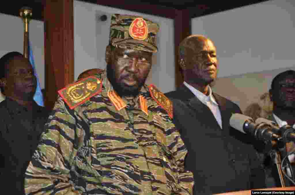 """South Sudan President Salva Kiir tells reporters at a news conference in Juba on Monday, December 16, 2013 that the government has """"full control"""" of the situation in the capital after what he says was an overnight coup attempt."""