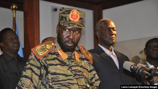 "South Sudan President Salva Kiir tells reporters at a news conference in Juba on Monday, December 16, 2013 that the government has ""full control"" of the situation in the capital after what he says was an overnight coup attempt."