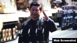 中国国家主席习近平在阅兵中行左手礼(2015年9月3日)