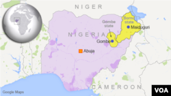 Map of Nigeria showing Maiduguri and Gombe