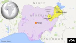 Map of Nigeria showing Maiduguri and Gombe