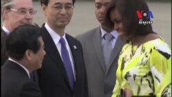 First Lady Michelle Obama Arrives in Japan