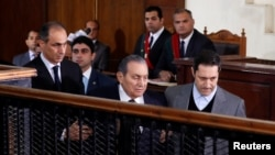 Former Egyptian President Hosni Mubarak testifies during a court case accusing ousted Islamist president Mohamed Mursi of breaking out of prison in 2011, in Cairo, Egypt, Dec. 26, 2018.
