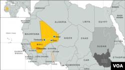 Peta wilayah Mali di Afrika (Foto: ilustrasi). Human Rights Watch dan Amnesty International menyatakan sebagian besar kekerasan terjadi di bagian utara negara itu, di mana militer berusaha merebut kembali wilayah-wilayah yang dikuasai kelompok pemberontak etnis Tuareg, MNLA, Jumat (7/6).