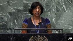 지난 9월 뉴욕 유엔 총회에 참석한 나비 필레이 유엔인권최고대표. (자료사진)