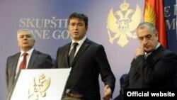 Lideri Demokratskog fronta, Andrija Mandić, Nebojša Medojević i Predrag Bulatović