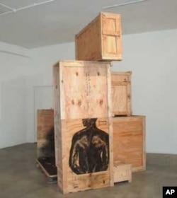 Part of Nitegeka's 'Human Cargo' installation