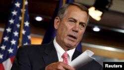 FILE - U.S. House Speaker John Boehner speaks at a news conference in Washington March 19, 2015.