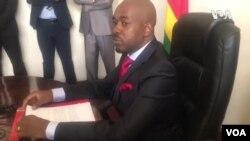 Umkhokheli webandla leMDC Alliance, uMnu. Nelson Chamisa.
