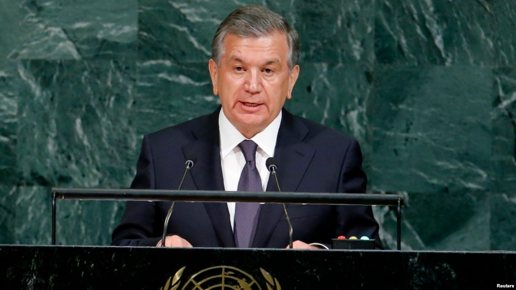 O'zbekiston Prezidenti Shavkat Mirziyoyev BMT minbarida, Nyu-York, AQSh, 19-sentabr, 2017-yil.