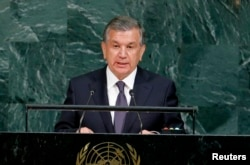 Uzbekistan President Shavkat Mirziyoyev addresses the 72nd United Nations General Assembly at UN Headquarters in New York, US, Sept. 19, 2017.
