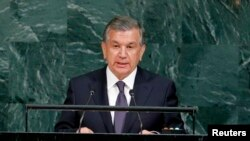 FILE - Uzbekistan President Shavkat Mirziyoyev, pictured at the United Nations headquarters in New York, Sept. 19, 2017, will host a conference later in March addressing peace talks between Afghanistan and the Taliban.