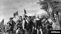 Kristofor Kolombi në Tokën e Re - pikturë historike