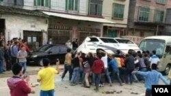 陽春市春灣鎮自由管理區村民連續多日抗議。