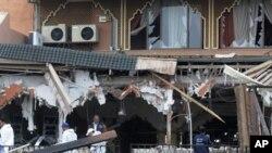 Faixada exterior do edifício alvo de atentado bombista na cidade de Marrakech no Marrocos